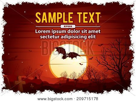 Gloomy Halloween Background. Spooky forest with full moon and bats