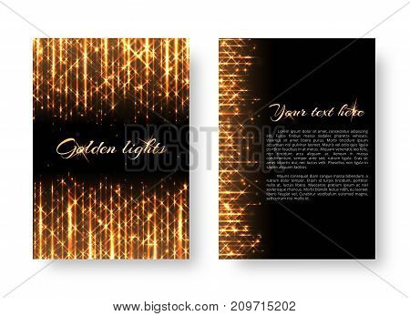 Bling background with bright light. Shine bright vector on a black backdrop.