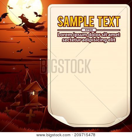 Halloween Background. Witch flies over the mansion. Vector Illustration