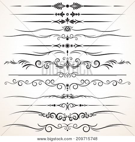 Collection of Ornamental Rule Lines, Different Design Styles