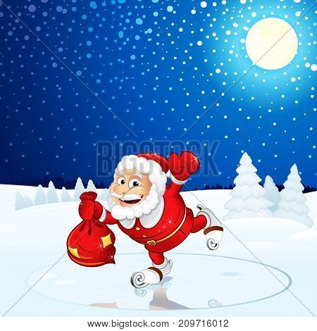 Santa Claus run on Winter Landscape. Vector Image For Text and Design.