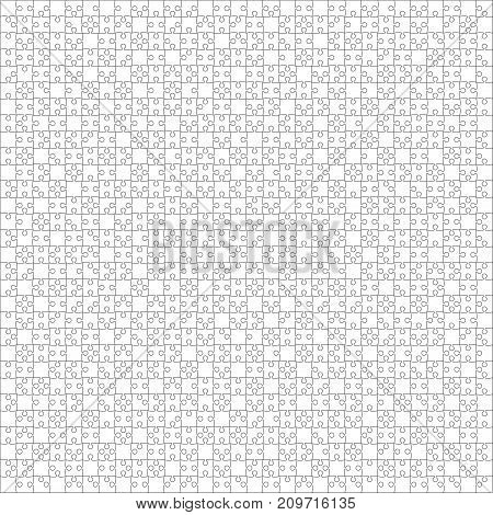 900 White Material Design Pieces Arranged in a Square - JigSaw. Jigsaw Puzzle Blank Template.
