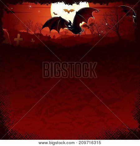 Vampire Bat over Full Moon. Gloomy Halloween Night Illustration