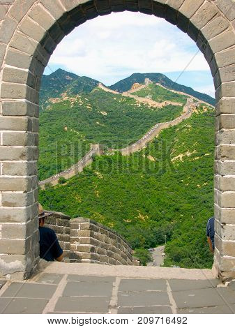View of Great Wall of China with green surrounding nature