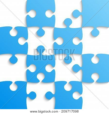 Blue Puzzle Pieces - JigSaw - Vector Illustration. Jigsaw Puzzle. Vector Background. Field for Chess.