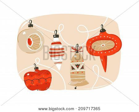 Hand drawn vector abstract fun Merry Christmas time cartoon illustrations collection set with cute retro vintage Christmas bauble isolated on white background.