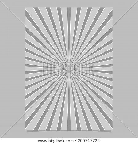 Geometric abstract star burst cover template - grey vector page background graphic design with radial rays