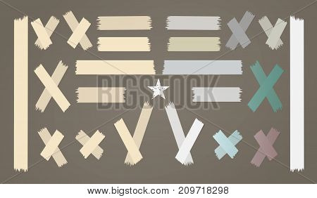 Colorful different size adhesive, sticky, paper pieces on brown background with star for text