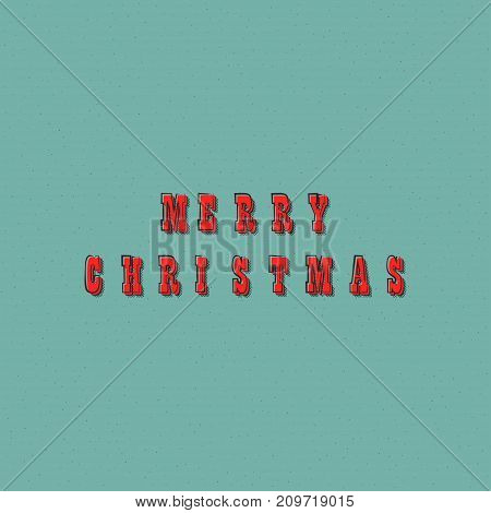 Merry Christmas text lettering design card template. Creative typography for holiday greeting gift poster. Retro font style banner. Vector illustration.