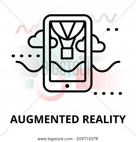 Abstract icon of future technology - augmented reality on color geometric shapes background for graphic and web design