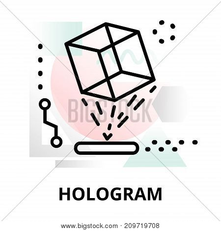 Abstract icon of future technology - hologram on color geometric shapes background for graphic and web design