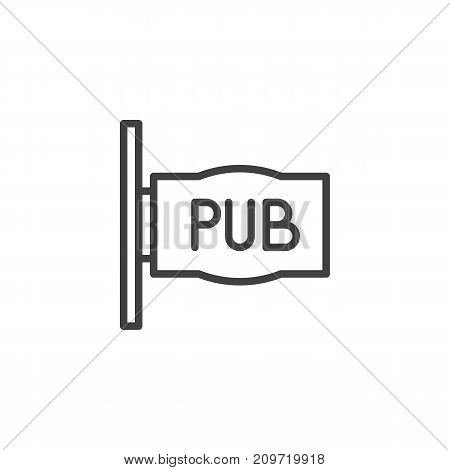 Pub sign line icon, outline vector sign, linear style pictogram isolated on white. Symbol, logo illustration. Editable stroke