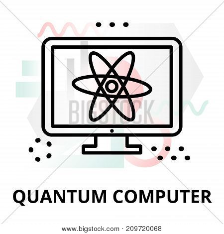 Abstract icon of future technology - quantum computer on color geometric shapes background for graphic and web design