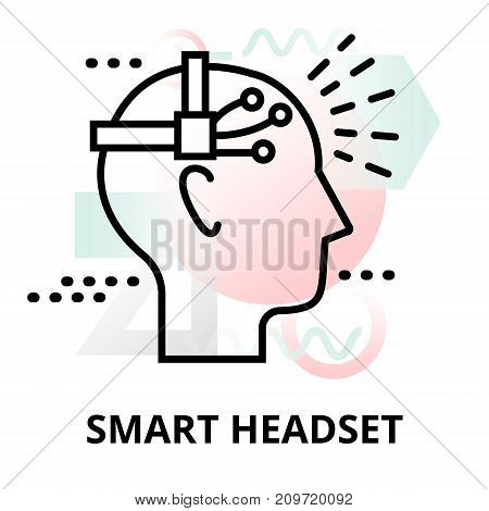 Abstract icon of future technology - smart headset on color geometric shapes background for graphic and web design