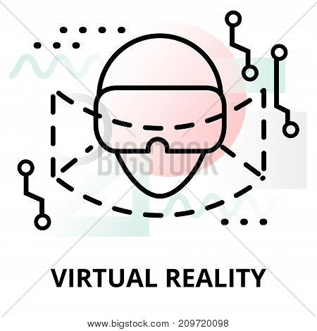 Abstract icon of future technology - virtual reality on color geometric shapes background for graphic and web design