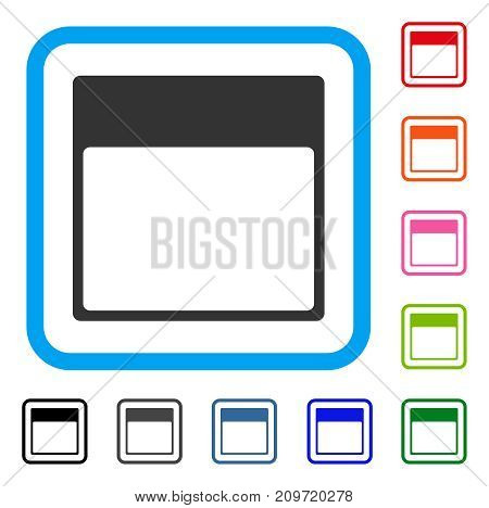 Calendar Page Template icon. Flat grey pictogram symbol in a light blue rounded rectangular frame. Black, gray, green, blue, red, orange color versions of Calendar Page Template vector.