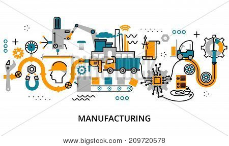 Modern flat editable line design vector illustration concept of manufacturing process for graphic and web design