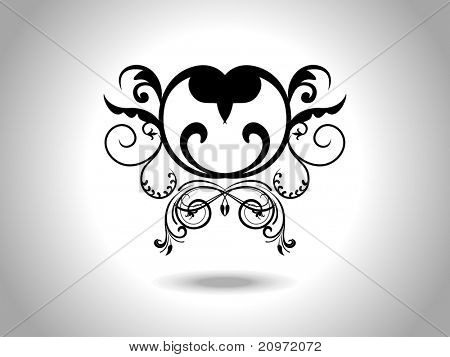 abstract grey background with isolated black creative design heart tattoo poster