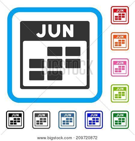 June Calendar Grid icon. Flat grey pictogram symbol in a light blue rounded rectangle. Black, gray, green, blue, red, orange color variants of June Calendar Grid vector.