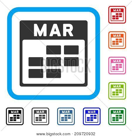 March Calendar Grid icon. Flat gray iconic symbol inside a light blue rounded square. Black, gray, green, blue, red, orange color versions of March Calendar Grid vector.