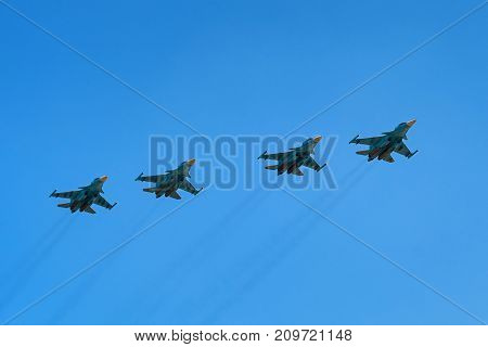 ROSTOV-ON-DON, RUSSIA - AUGUST, 2017: Sukhoi Su-34 Fullback is a Russian twin-engine, twin-seat, all-weather supersonic medium-range fighter-bomber and strike aircraft.