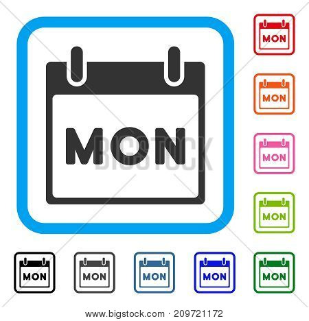 Monday Calendar Page icon. Flat gray iconic symbol inside a light blue rounded squared frame. Black, gray, green, blue, red, orange color variants of Monday Calendar Page vector.