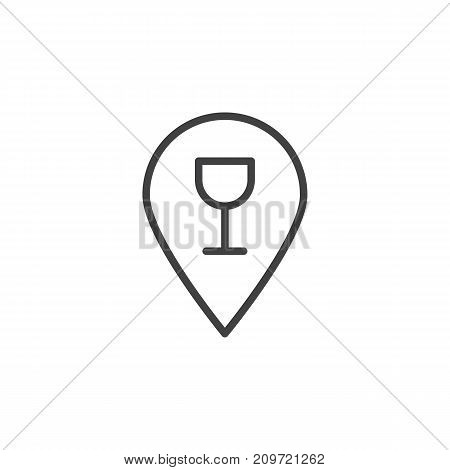Bar location with wine glass line icon, outline vector sign, linear style pictogram isolated on white. Symbol, logo illustration. Editable stroke