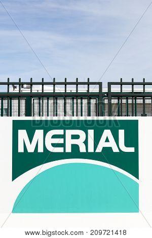 Saint Priest, France - October 7, 2017: Merial industrial site and logo in Saint Priest in France. Merial is a multinational animal health company