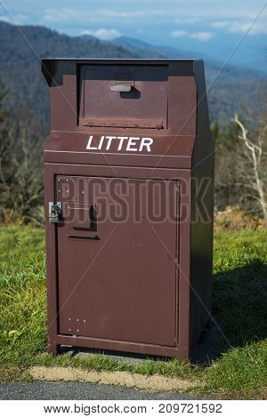 Garbage can heavy duty bear proof industrial waste bin keeping litter out of clean park environment