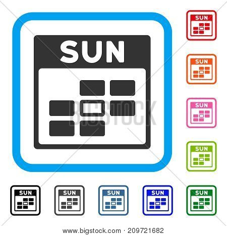 Sunday Calendar Grid icon. Flat gray iconic symbol inside a light blue rounded rectangular frame. Black, gray, green, blue, red, orange color versions of Sunday Calendar Grid vector.