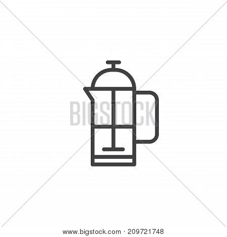 Coffee plunger line icon, outline vector sign, linear style pictogram isolated on white. French press symbol, logo illustration. Editable stroke