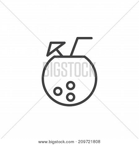 Coconut with fresh cocktail line icon, outline vector sign, linear style pictogram isolated on white. Symbol, logo illustration. Editable stroke