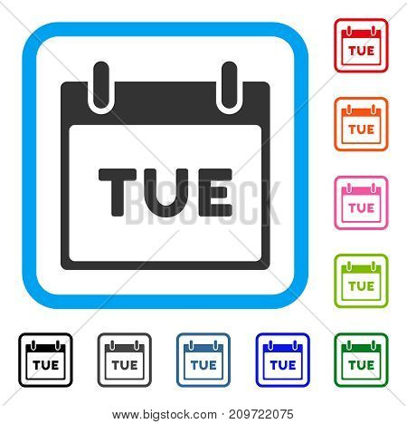 Tuesday Calendar Page icon. Flat grey pictogram symbol in a light blue rounded rectangle. Black, gray, green, blue, red, orange color versions of Tuesday Calendar Page vector.