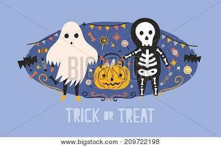 Children dressed in Halloween costumes of ghost and skeleton carrying pumpkin bag full of candies, lollipops and sweets against holiday decorations on background. Trick or treat. Vector illustration