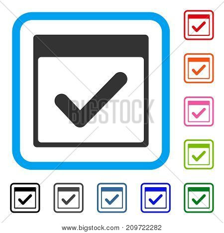Valid Day Calendar Page icon. Flat grey iconic symbol inside a light blue rounded rectangle. Black, gray, green, blue, red, orange color additional versions of Valid Day Calendar Page vector.