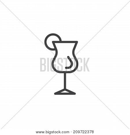 Cocktail glass with lime line icon, outline vector sign, linear style pictogram isolated on white. Symbol, logo illustration. Editable stroke