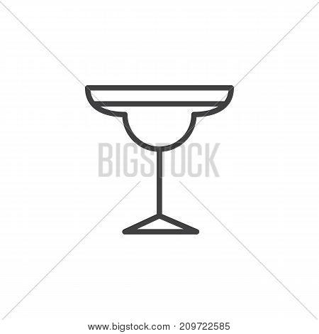 Cocktail margarita glass line icon, outline vector sign, linear style pictogram isolated on white. Symbol, logo illustration. Editable stroke