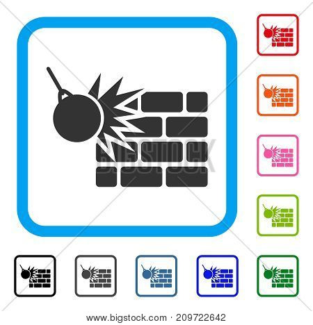 Brick Wall Destruction icon. Flat grey pictogram symbol inside a light blue rounded squared frame. Black, gray, green, blue, red, orange color variants of Brick Wall Destruction vector.