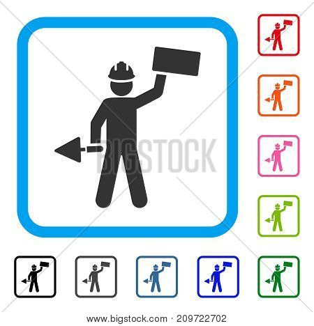Brickwork Builder icon. Flat grey iconic symbol in a light blue rounded square. Black, gray, green, blue, red, orange color versions of Brickwork Builder vector. Designed for web and application UI.