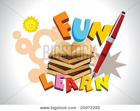 abstract funky education background with books, pen poster