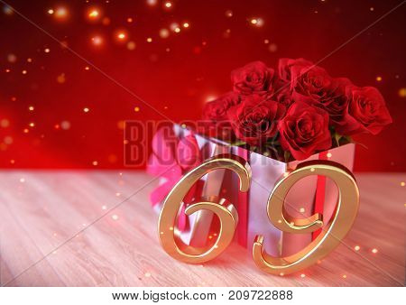 birthday concept with red roses in gift on wooden desk. 3D render - sixty-nineth birthday. 69th