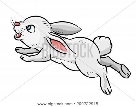 Illustration of Jumping smile Rabbit Isolated on white background. Children's illustration. Vector.