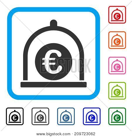 Euro Standard icon. Flat gray iconic symbol in a light blue rounded square. Black, gray, green, blue, red, orange color versions of Euro Standard vector. Designed for web and software UI.