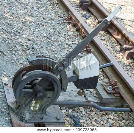 Old Hand-operated Lever Of A Railroad Switch