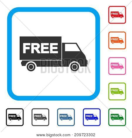 Free Shipment Van icon. Flat grey iconic symbol in a light blue rounded frame. Black, gray, green, blue, red, orange color variants of Free Shipment Van vector.