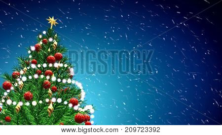 Green Christmas tree over blue background with snowflakes and red balls.