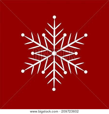 Icon snowflake on a red background. Vector illustration