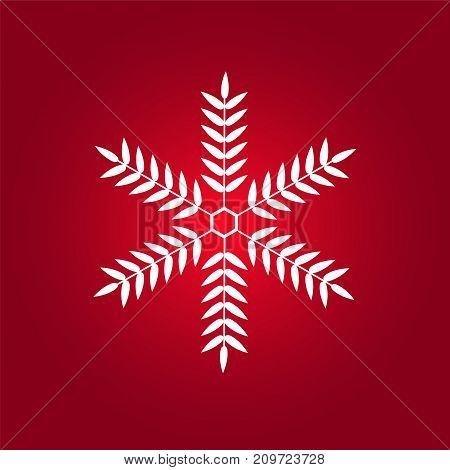 White Snowflake red background icon. Vector illustration