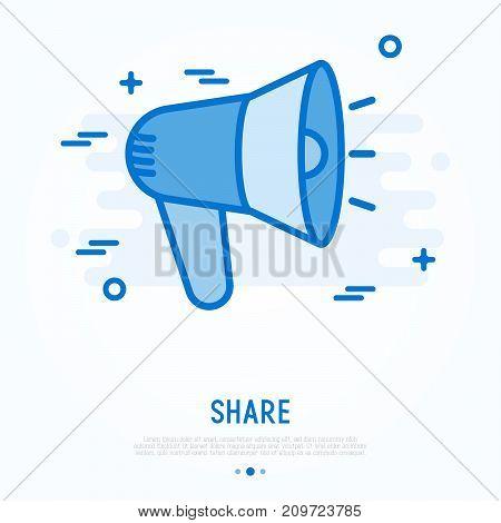 Loudspeaker thin line icon. Vector illustration of sharing sign.