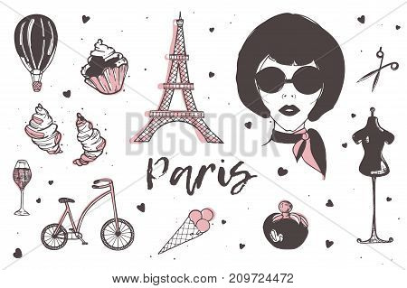 Set of Paris and France elements - stylish Parisian woman, perfume, french croissant, Eiffel Tower, glass of champagne hand drawn in doodle style and isolated on white background. Vector illustration